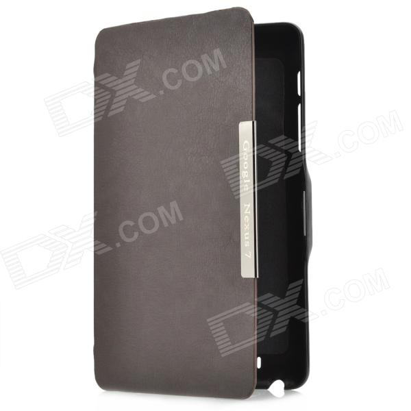 Protective PU Leather Flip-Open Case w/ Holder for Google Nexus 7 - Brown flip open pu leather case w window holder for iphone 6 4 7 brown