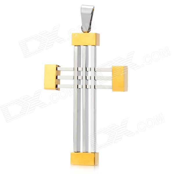 Stylish Cross Pattern Stainless Steel Men's Necklace Pendant - Golden + Silver