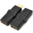 180 Degree Rotation 1080p HDMI Male to Female + Female to Female Adapter Set - Black