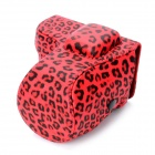 Protective Leopard Pattern PU Leather Case for Sony NEX-C3 - Red + Black