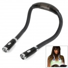 Stilvolle 4-LED tragbare Freisprecheinrichtung Flexible Neck Hug Light - Schwarz (2 x AAA)