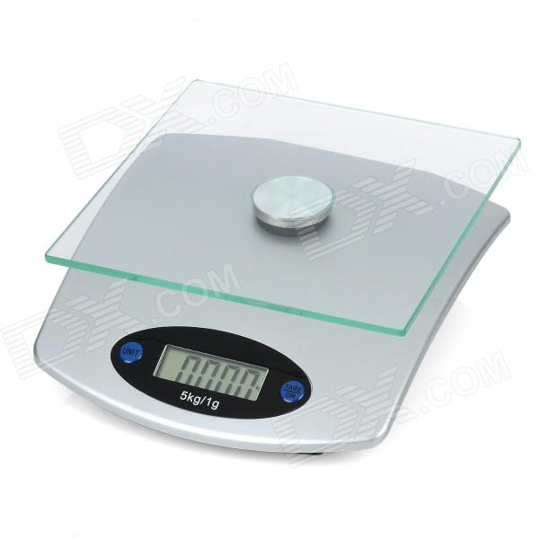 1.9 LCD Tempered Glass Digital Electronic Kitchen Scale - Silver (5Kg / 1g / 1 x CR2032) 1 5 lcd digital electronic scale 2 x aaa