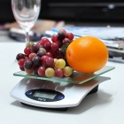 "1.9"" LCD Tempered Glass Digital Electronic Kitchen Scale - Silver (5Kg / 1g / 1 x CR2032)"