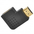 Gold Plated Right Angle HDMI Male to Female Adapter / Converter - Black