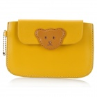 Cute Bear Wallet Style Protective PU Leather Case for Iphone / Samsung / HTC - Yellow