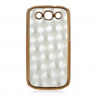 Fashion Grid Pattern Protective Plastic Black Case for Samsung i9300 - Silver + Golden