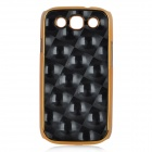 Fashion Grid Pattern Protective Plastic Black Case for Samsung i9300 - Black + Golden
