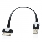 USB 2.0 Data / Charging Flat Cable for iPhone 4 / 4S - White + Black (17.5cm)