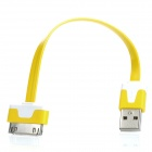 USB 2.0 Data / Laden Flachbandkabel für iPhone 4 / 4S - Yellow + White (17.5cm)