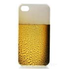 Beer Pattern Protective Plastic Back Case for Iphone 4S / 4 - Yellow + Beige