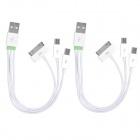 3-in-1 USB Data / Charging Cable w/ Mini USB / Micro USB for iPhone - White (15cm)