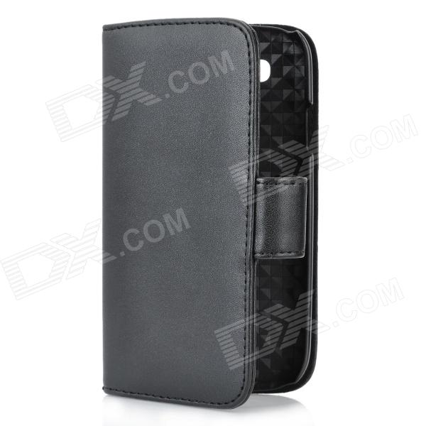 Protective Genuine Leather Flip-Open Case w/ Card Slot for Samsung Galaxy S 3 i9300 - Black protective flip open pu case w stand card slots for samsung galaxy s4 active i9295 black
