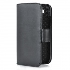 Protective Genuine Leather Flip-Open Case w/ Card Slot for Samsung Galaxy S 3 i9300 - Black
