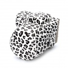 Fashion Leopard Style Protective Hard Bag for Sony NEX-C3 - White + Black