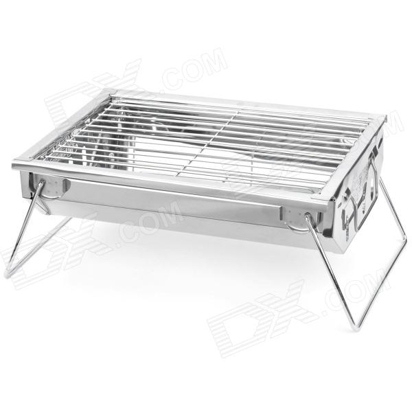 Portable Folding Stainless Steel BBQ Combined Barbecue Grill Set   Silver