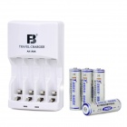 "Ni-MH / NiCd Battery Charger w/ Rechargeable 4 x ""2500mAh"" AA Batteries - White"