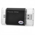 USB Male to Micro USB Male Smart Phone U-Disk USB 2.0 Flash Drive - Black (8GB)