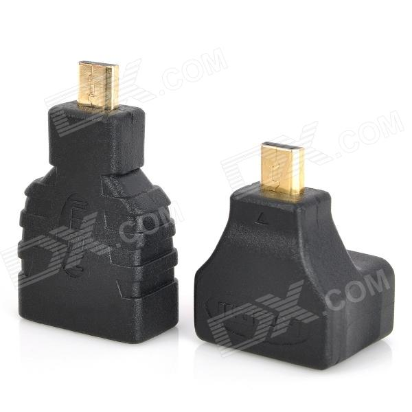 Right Angle + Straight HDMI Female to Micro HDMI Male Adapters - Black 2 pcs set usb 3 0 vertical male to female left angle and right adapters