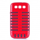 Microphone Style Protective Plastic Cover Silicone Back Case w/ Holder for Samsung i9300 - Red