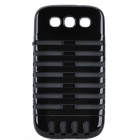 Microphone Style Protective Plastic Cover Silicone Back Case w/ Holder for Samsung i9300 - Black