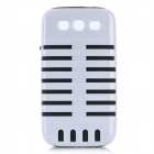 Microphone Style Protective Plastic Cover Silicone Back Case w/ Holder for Samsung i9300 - White