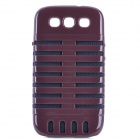 Microphone Style Protective Plastic Cover Silicone Back Case w/ Holder for Samsung i9300 - Brown