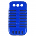 Microphone Style Protective Plastic Cover Silicone Back Case w/ Holder for Samsung i9300 - Blue