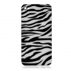 Zebra Pattern Protective Tempered Glass Back Cover Housing Case for iPhone 4S - Black + White