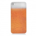 Beer Pattern Protective Tempered Glass Back Cover Housing Case for iPhone 4S - Orange + White