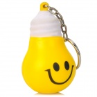 Cute Smiley Face Light Bulb Style Keychain - Yellow
