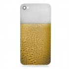 Beer Pattern Protective Tempered Glass Back Cover Housing Case for iPhone 4S