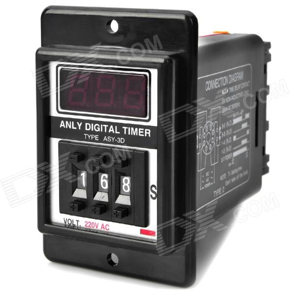 цена на ASY-3D 1.3'' LCD Display Digital Timer - Black (AC 220V)