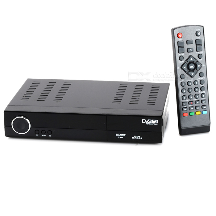 H.264/MPEG4 DVB-T2 HD/SDTV Receiver Digital Television Box - Black car digital tv box dvb t dual tuner mpeg2 and mpeg4 avc h 264 for english french german italian spanish greek russian