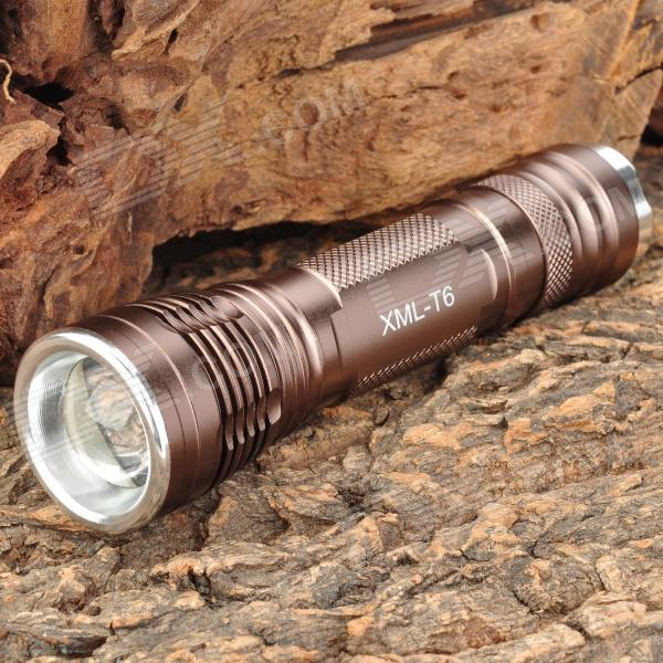 NEW-966 900LM 5-Mode White Light Zoom Flashlight - Coffee (1 x 18650)