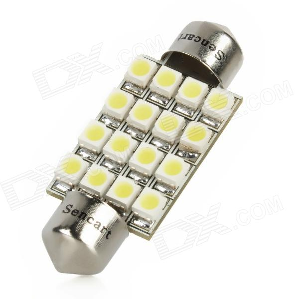 SENCART Festoon 39mm 1.5W 6500K 90lm 16-3528 SMD LED White Light Car Lamp (DC 12V) fengyangdengshi 018 e27 3w 90lm 6500k white light 48 3528 smd led corn lamp white yellow 220v
