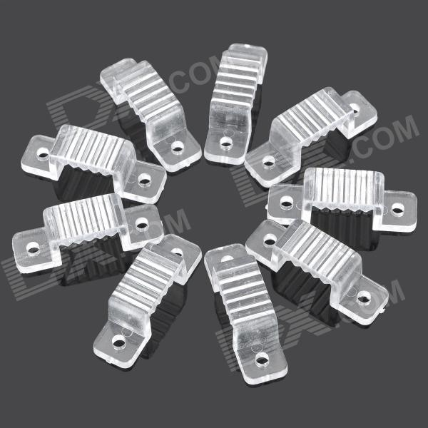 Silicone Clip Buckles for 220V 5050 LED Strip - Transparent (10 PCS) 10 20pcs dhl1m led strip aluminum profile for 10mm pcb 5050 5630 led strip housing aluminum channel with cover end cap and clips