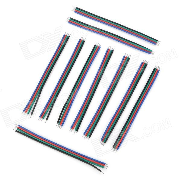 DIY 4-Pin Extension Connecting Wire Cable for RGB LED Strip (10 PCS) free shipping super wide u shape aluminum anodized profile for led strips with cover and end caps for dual row led strip