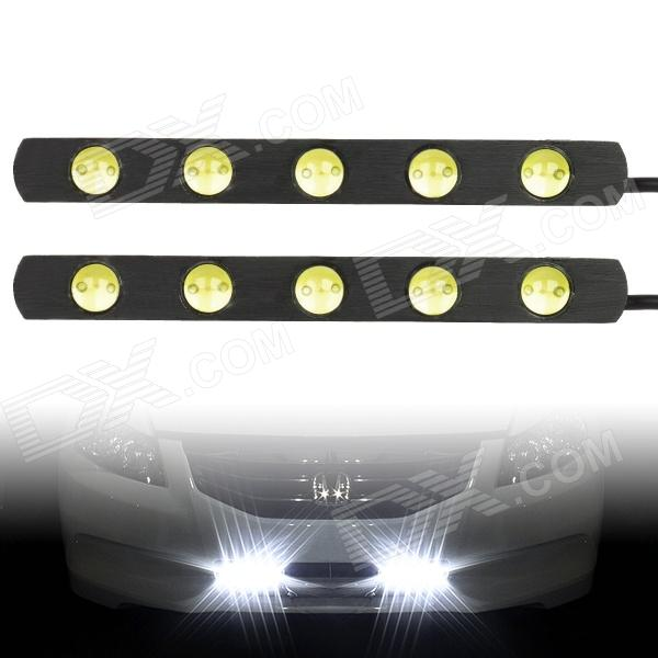 6W 6000K 70lm 5-LED White Light Car Daytime Running Lamps (DC 12V / 2 PCS)