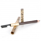 Pattern Leopard Pen sobrancelha Head-Dual + Escova - Golden Light + Preto