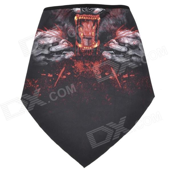 Cool Monster Pattern Polyester Fiber Cycling Mask - Black + Red protective outdoor war game military skull half face shield mask black