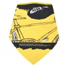 Bike Pattern Polyester Fiber Cycling Mask - Yellow + Black