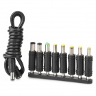 Universal DC 4.8 x 1.7mm Male to 8 Power Sockets Plug Converter Jack Set for Laptop - Black