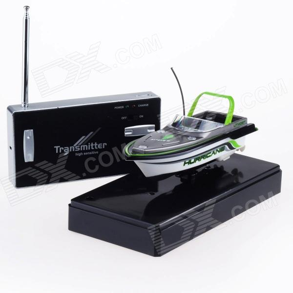 Mini Rechargeable 2-Channel R/C Radio Control Boat Toy - Green + Black + White 2 channel ir remote control r c frog toy green