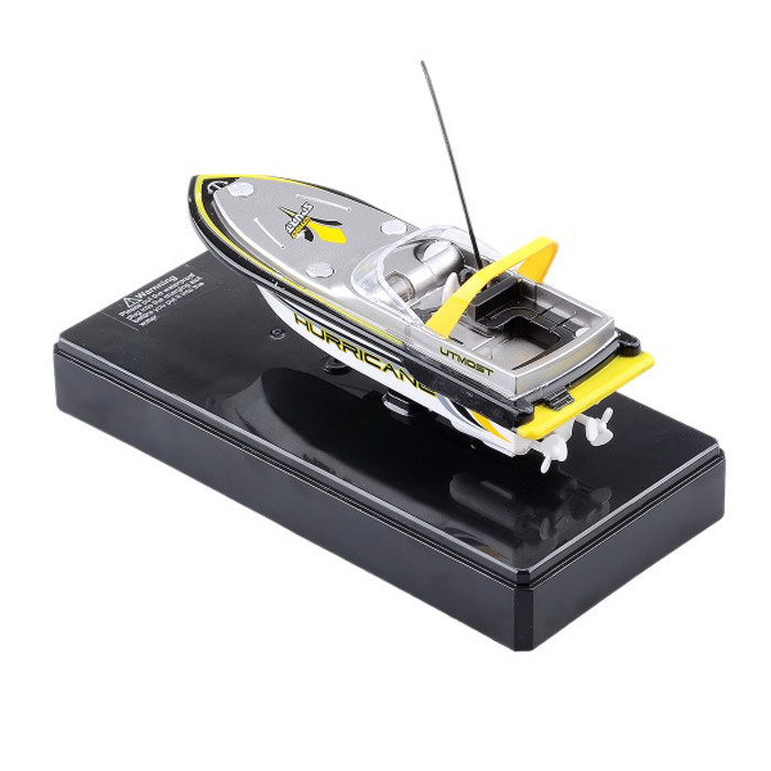 Mini Rechargeable 2-Channel R/C Radio Control Boat Toy - Yellow + Black + White