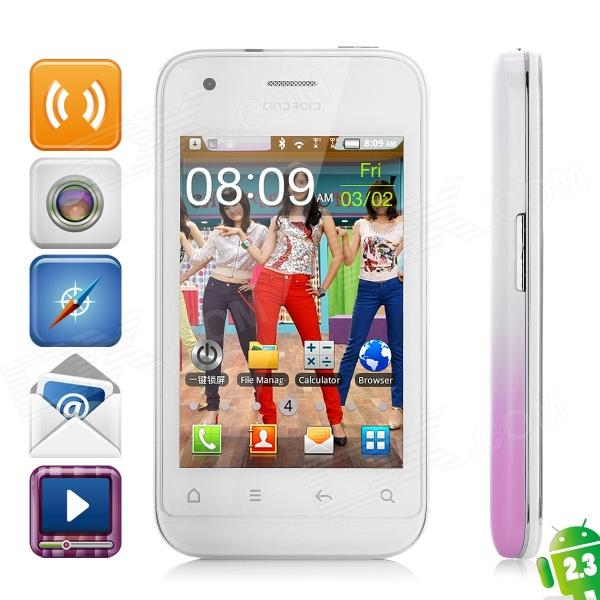 "T9989 Android 2.3 GSM Bar Phone w/ 3.5"" Capacitive Screen, Dual-Band and Wi-Fi - Purple + White"