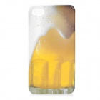 Overflowing Beer Pattern Plastic Back Case for iPhone 4 / iPhone 4S - Yellow