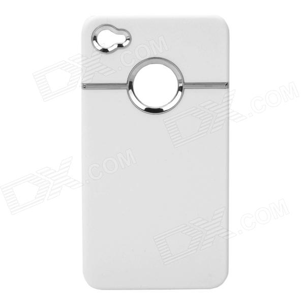 Fashion Silvering Protective Plastic Back Case for Iphone 4 / 4S - White fashion silvering protective plastic back case for iphone 4 4s red