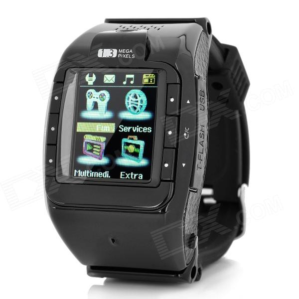 N388 GSM 1.3 Resistive Touch Screen T9 Proprietary Watch Phone w/ Bluetooth / Camera - Black i5 gsm wrist watch phone w 1 8 resistive screen quad band single sim and fm black