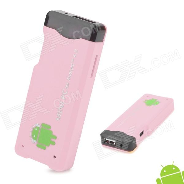 A22 Android 4.0 1GB DDR3 4G ROM Mini PC w/ Wi-Fi / TF / HDMI - Pink + Black (4GB)