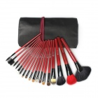 18-in-1 Professional Cosmetic Animal Hair + Synthetic Fiber Brushes Set - Black